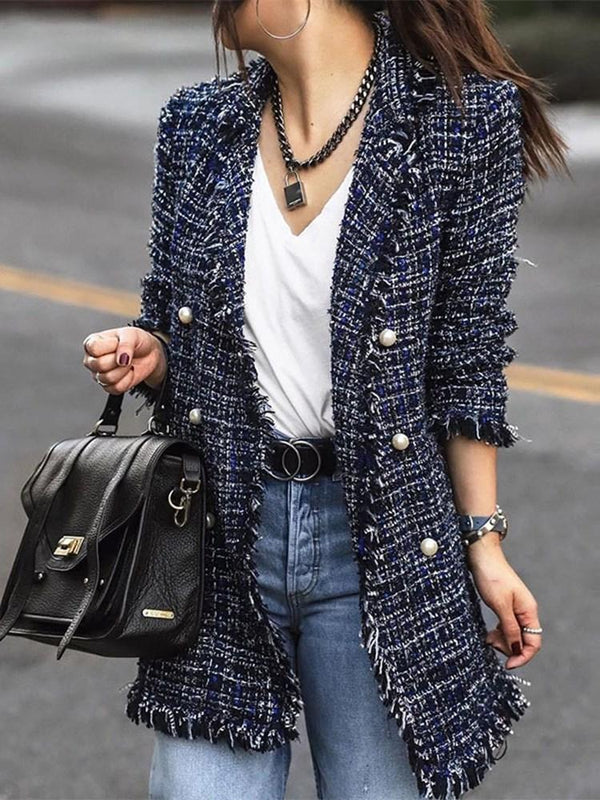 Notched Lapel Long Sleeve Plain Mid-Length Casual Blazer