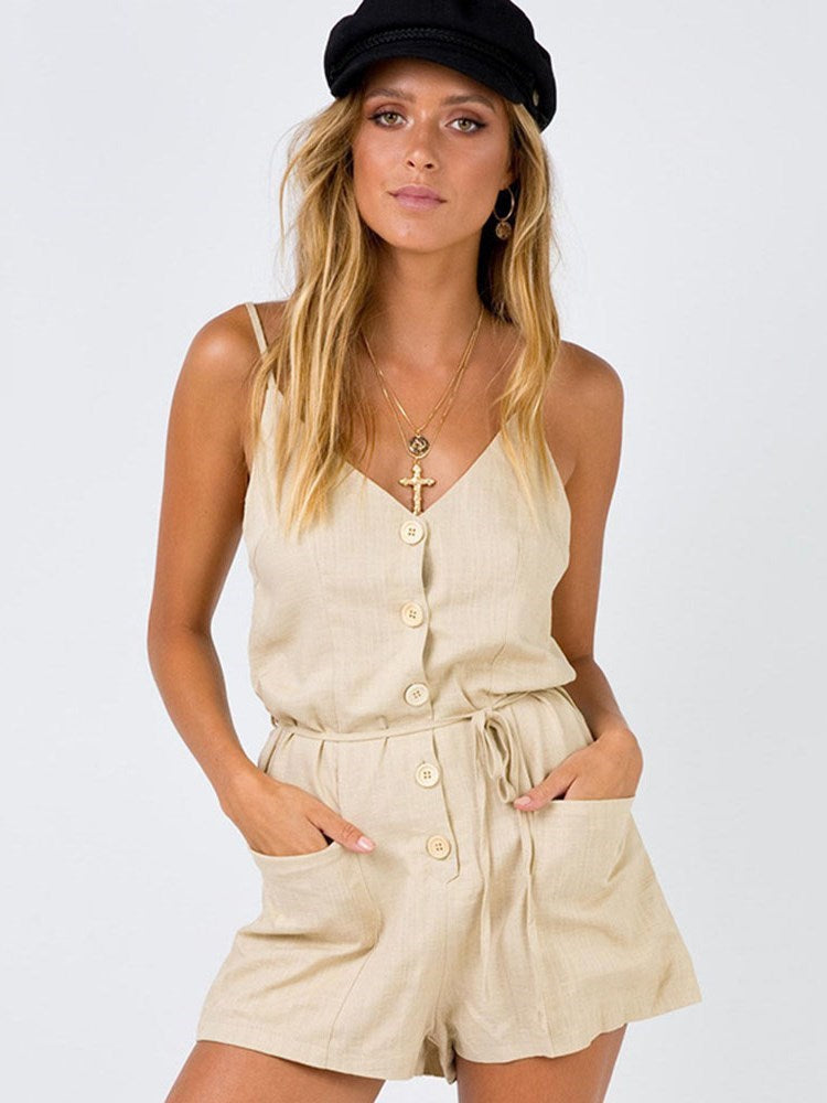 Casual Plain Strap Loose Straight Jumpsuit