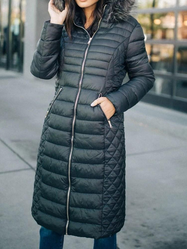 Patchwork Zipper Thick Long Cotton Padded Jacket