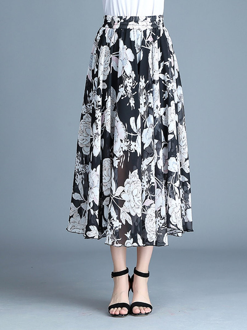 Floral Expansion Print Mid Waist Casual Skirt