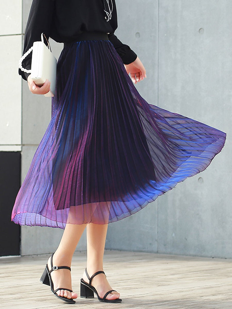 Pleated Gradient Mid-Calf Fashion High Waist Skirt