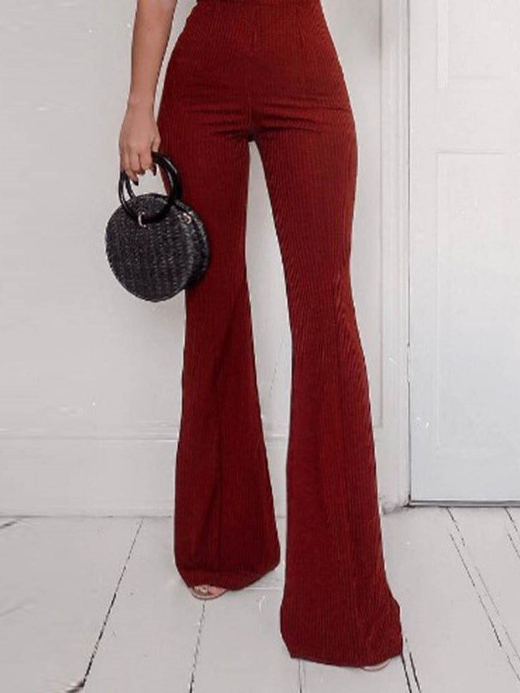 Plain Fashion Full Length Bellbottoms Slim Jumpsuits