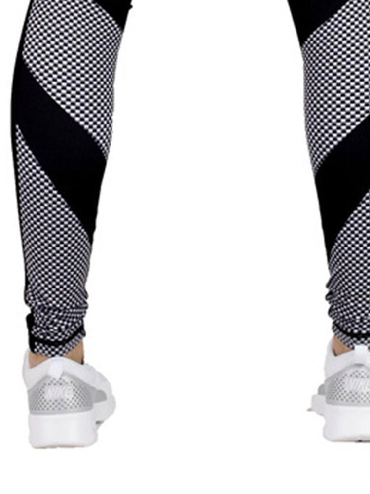 Patchwork Polyester Breathable Plaid Spring Female Running Pants