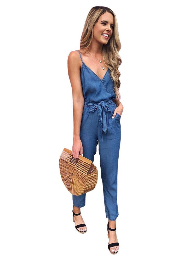 Pleated Casual Plain Mid Waist Loose Jumpsuit