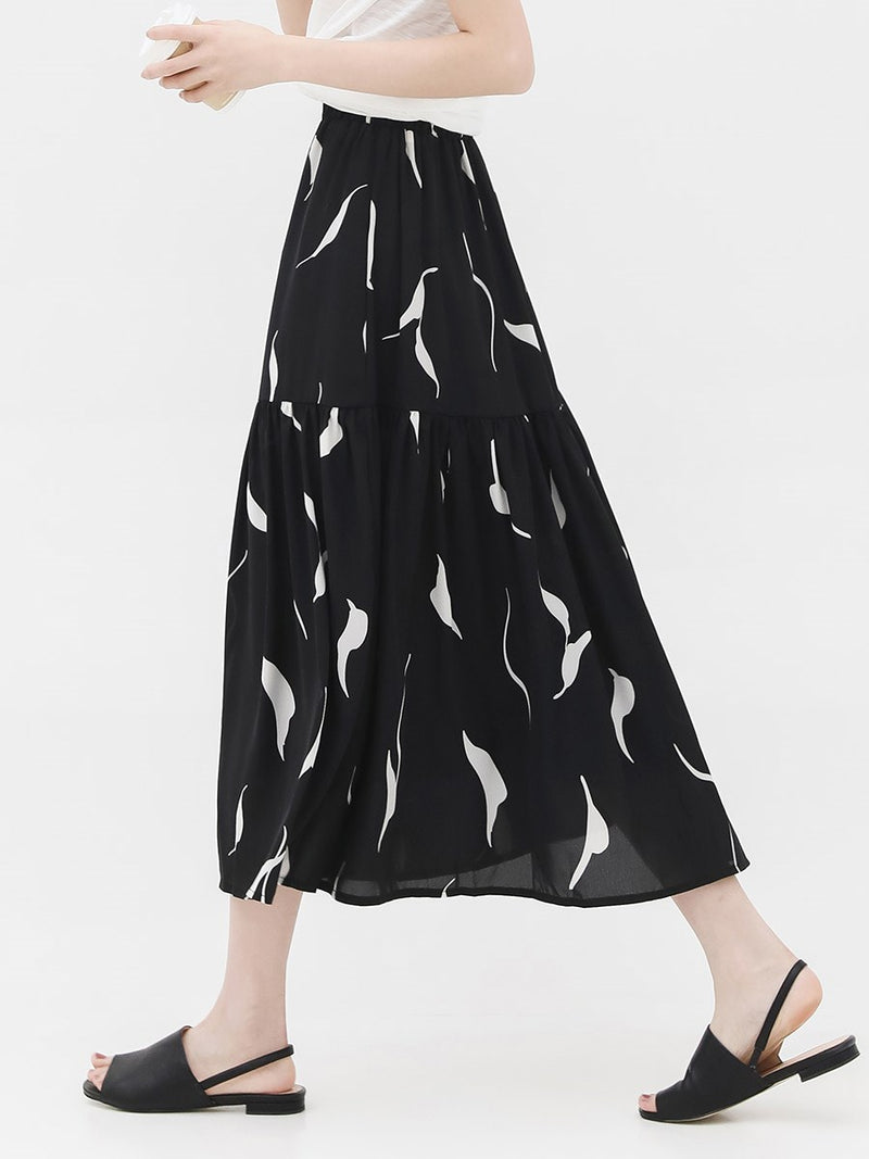 Expansion Print Mid-Calf Mid Waist Casual Skirt