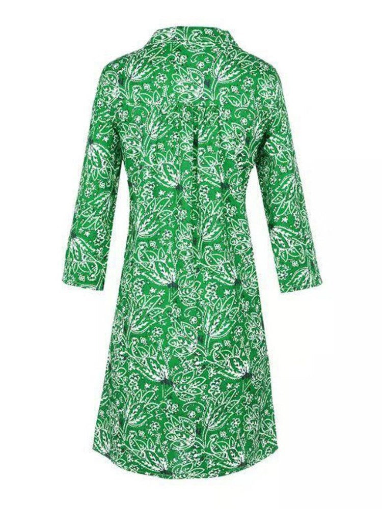 Round Neck Knee-Length Three-Quarter Sleeve Regular Floral Dress