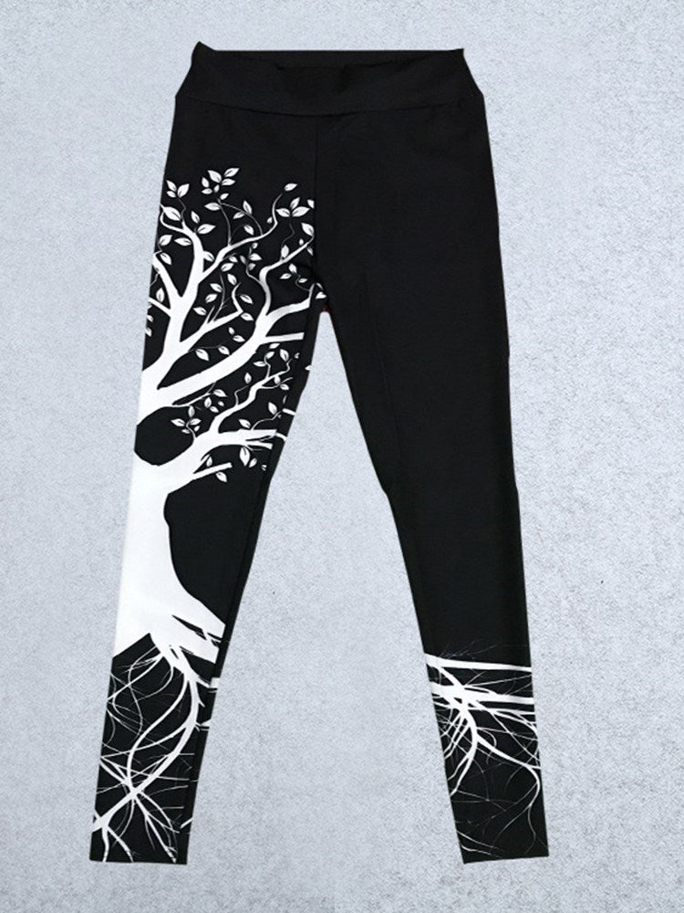 Breathable Print Polyester Female Full Length Yoga Pants