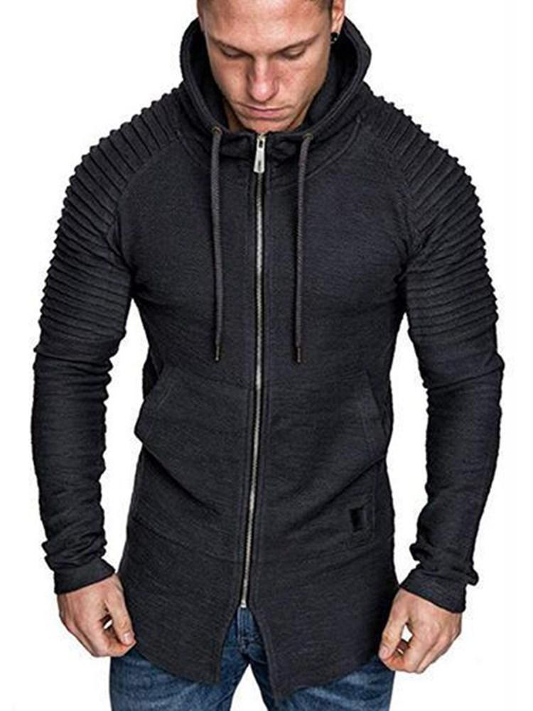 Regular Plain Zipper Hooded Spring Hoodies