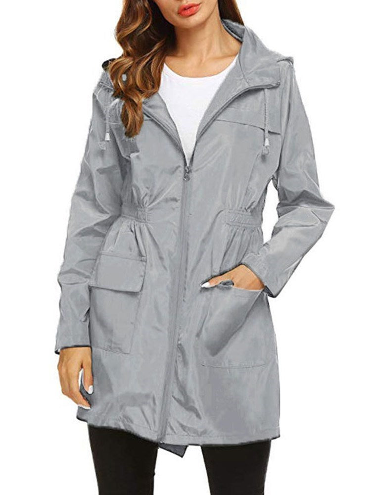Hooded Zipper Mid-Length Long Sleeve Sports Trench Coat - Comfyfree