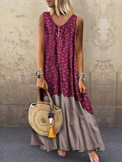 Ankle-Length Patchwork V-Neck Summer Pullover Dress