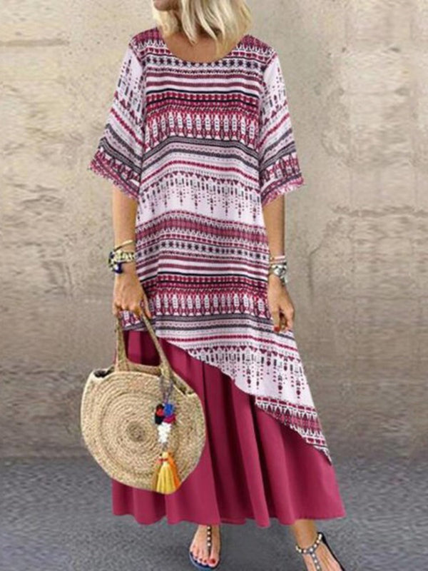 Three-Quarter Sleeve Ankle-Length Round Neck Stripe A-Line Dress