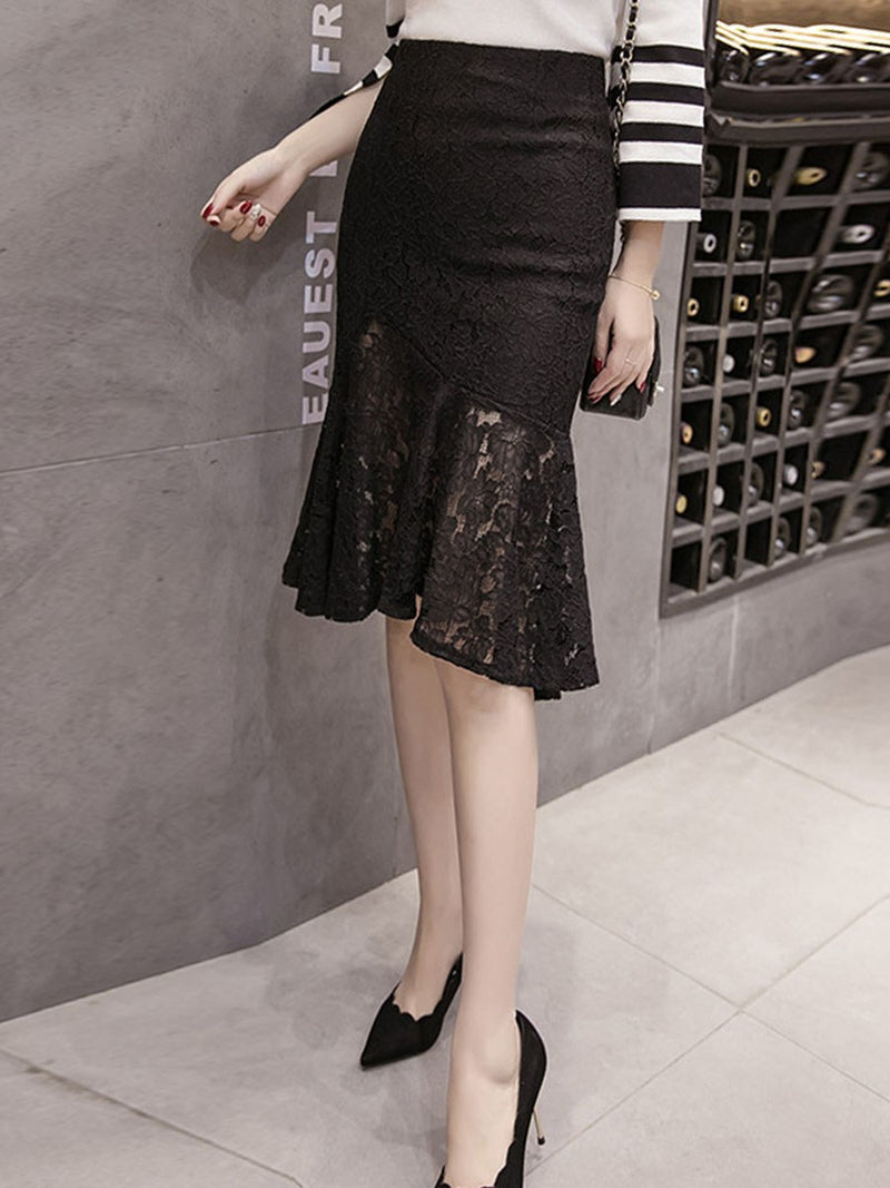 Lace Mid-Calf Plain Office Lady High Waist Skirt