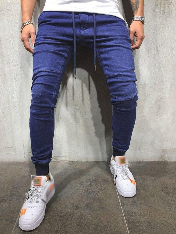 Lace-Up Pencil Pants Plain Lace-Up Mid Waist Jeans