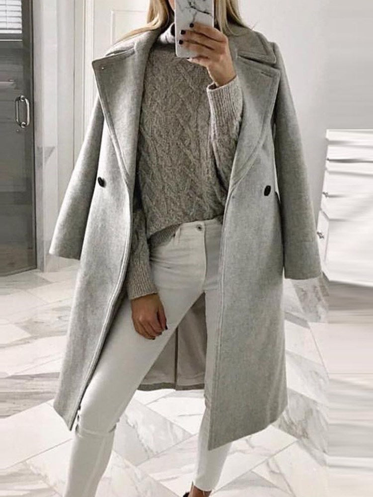 Regular Double-Breasted Button Winter Long Overcoat