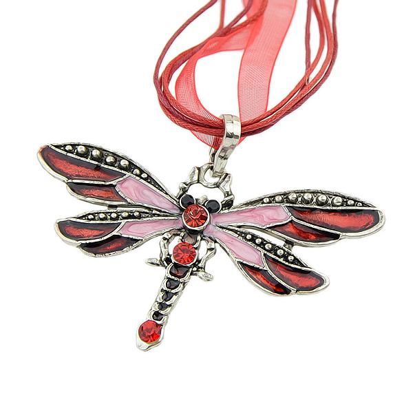 Dragonfly Shaped Rhinestone Decorated Necklace