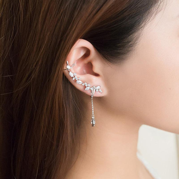 Elegant Diamante Long Single Ear Cuff