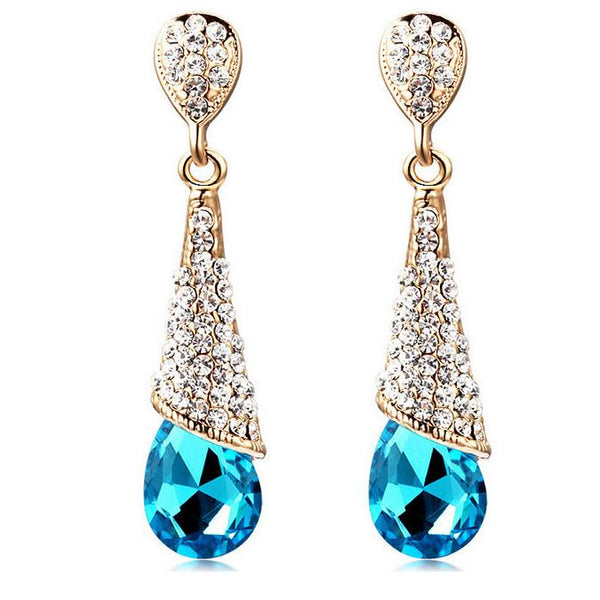 Long Diamante Water Drop Earrings