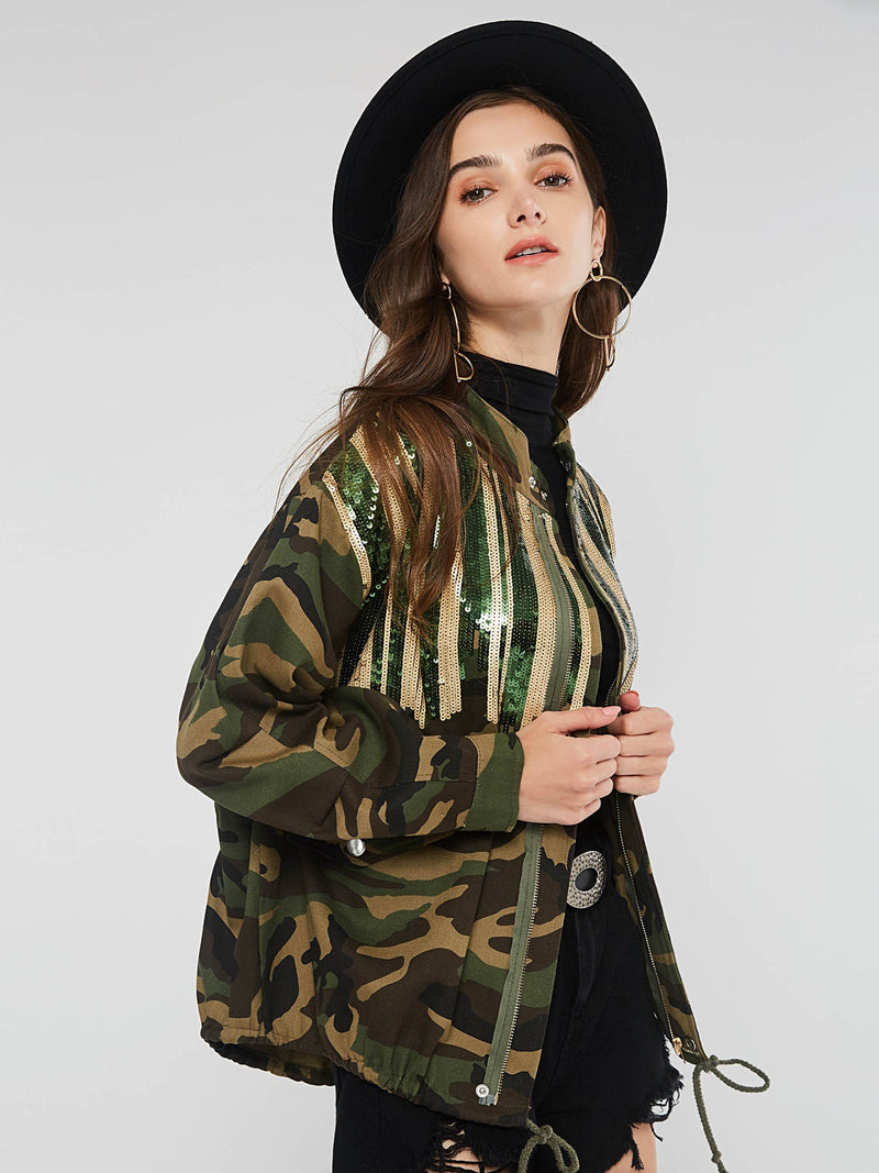 Stand Collar Camouflage Jacket