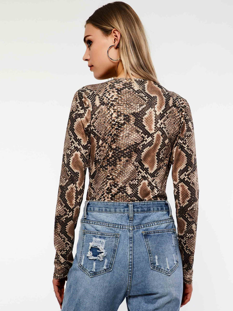 Serpentine Printed Bodysuit Jumpsuits