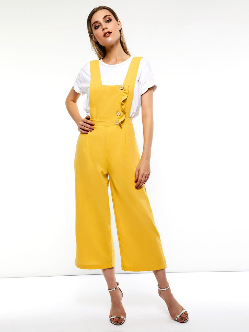 Yellow Button Jumpsuits