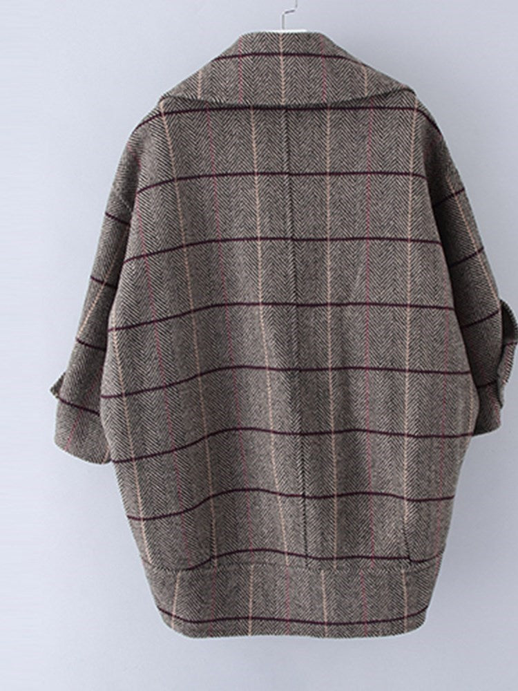 Loose Plaid Bat Sleeve Overcoat - Comfyfree