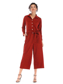 Turn-down Collar Jumpsuits