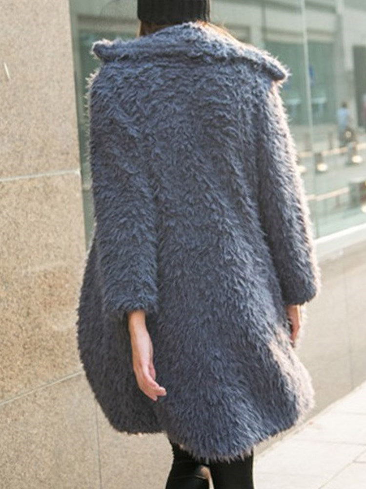 Solid Color Lapel Collar Teddy Bear Overcoat
