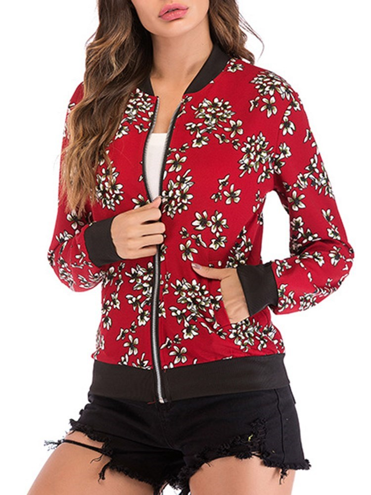 Floral Zipper Stand Collar Short Bomber Jacket - Comfyfree