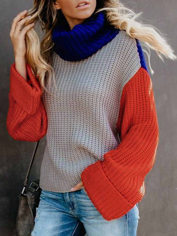 Color Block Turtleneck Knitwear - Comfyfree