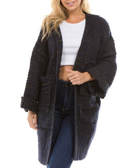 Thick Standard Wool Long Sleeve Knitwear Cardigan