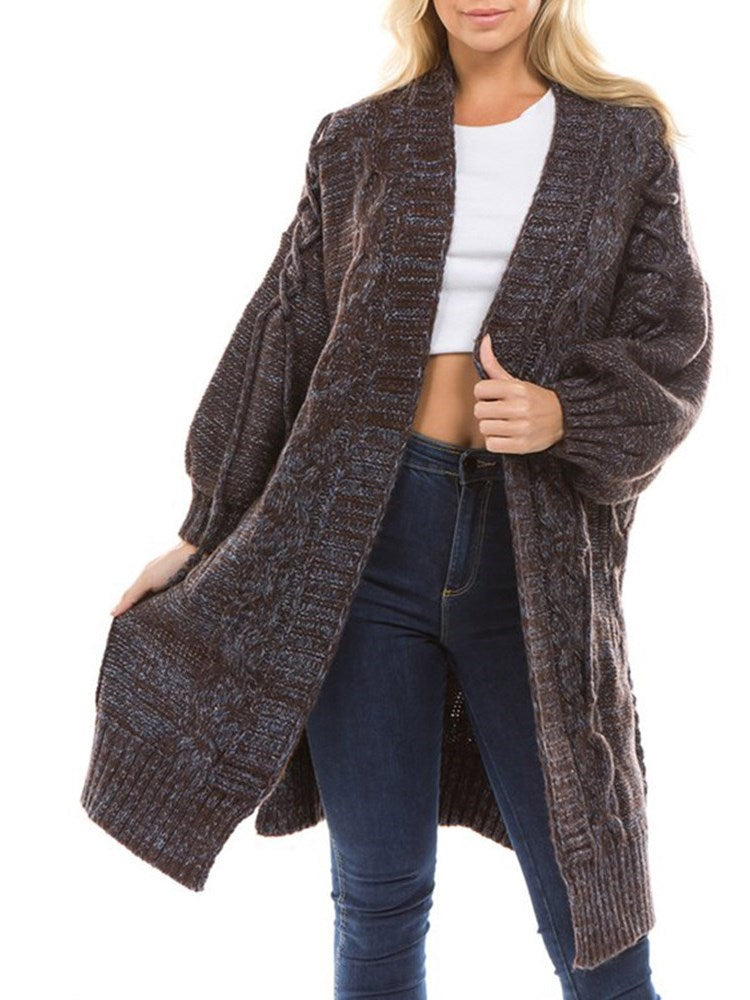 Thick Mid-Length V-Neck Long Sleeve Knitwear Cardigan
