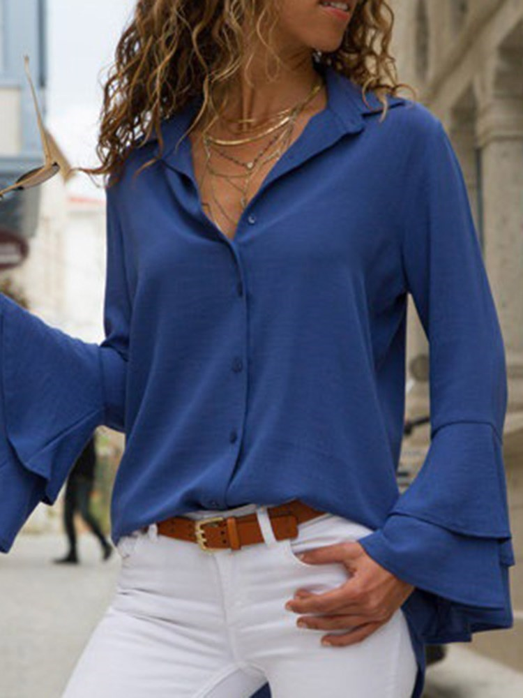 Ruffle Sleeve Long Sleeve Blouse