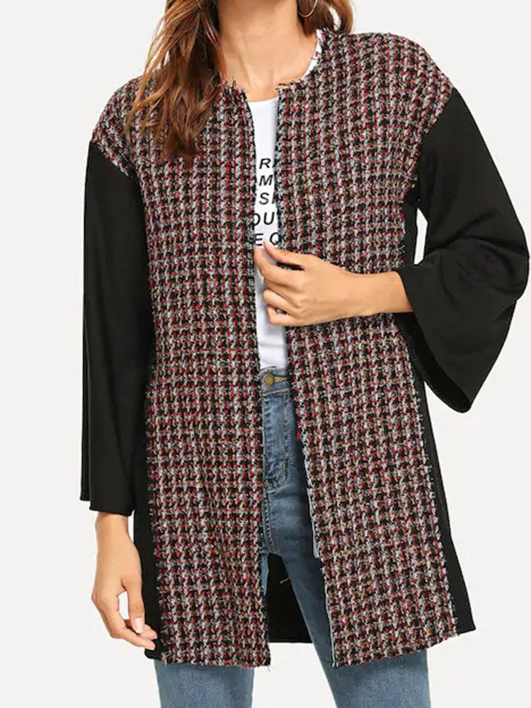 Plaid Patchwork Mid-Length O-Neck Overcoat