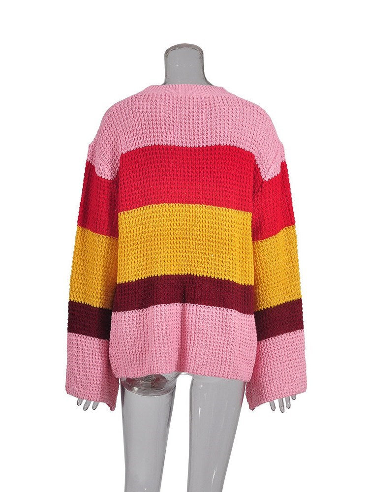 Micro-Elastic Color Block Round Neck Knitwear - Comfyfree