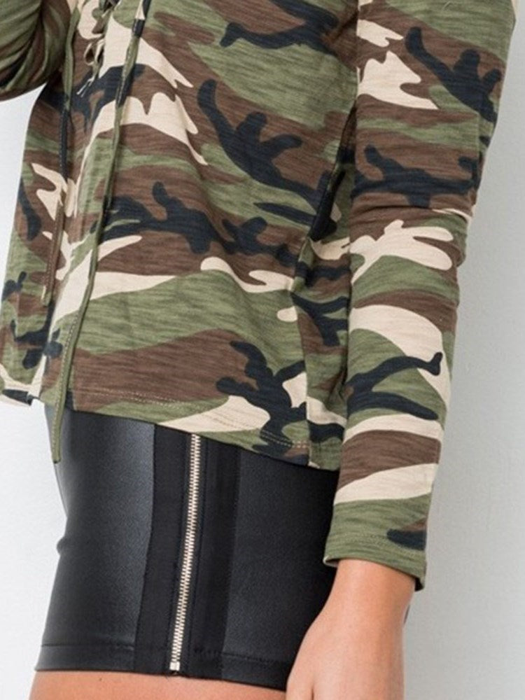 Camouflage Printed Lacing T-shirt - Comfyfree