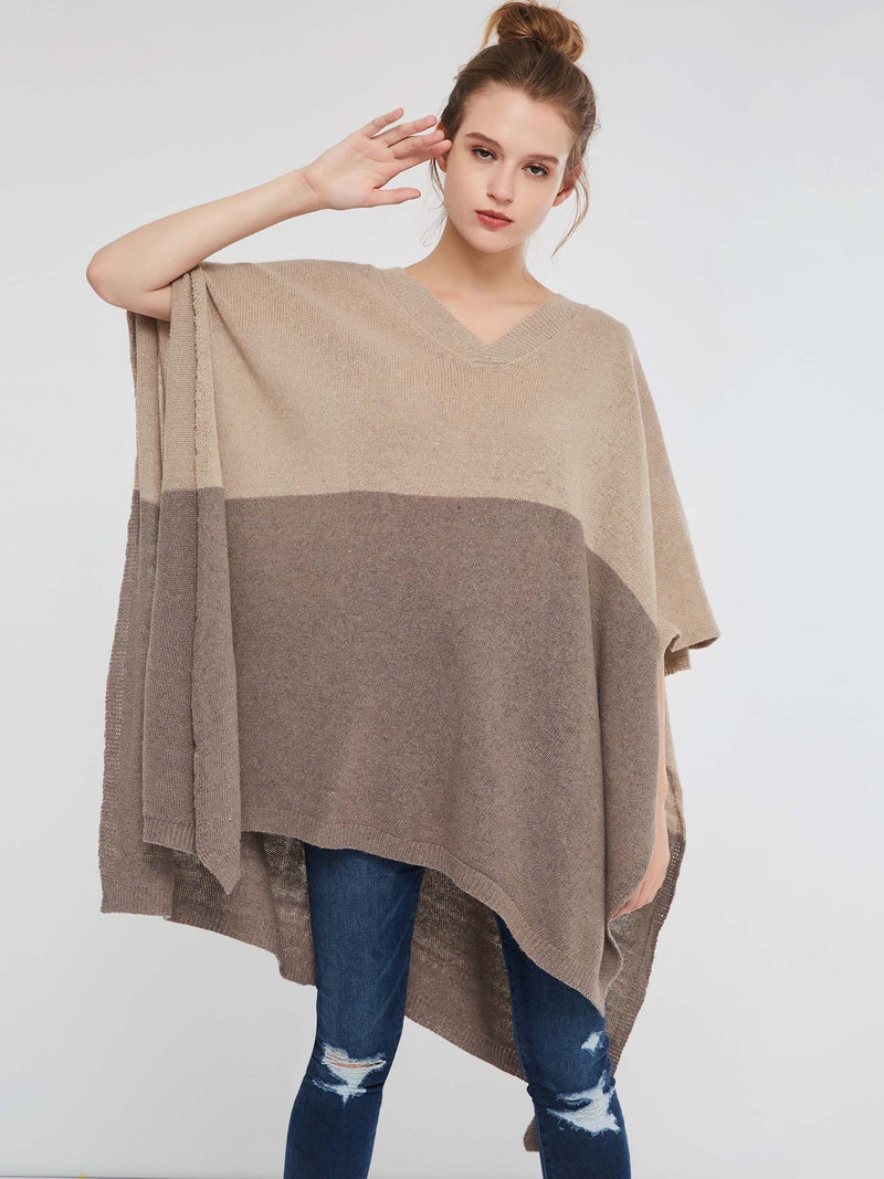 Pullover Color Block Cape