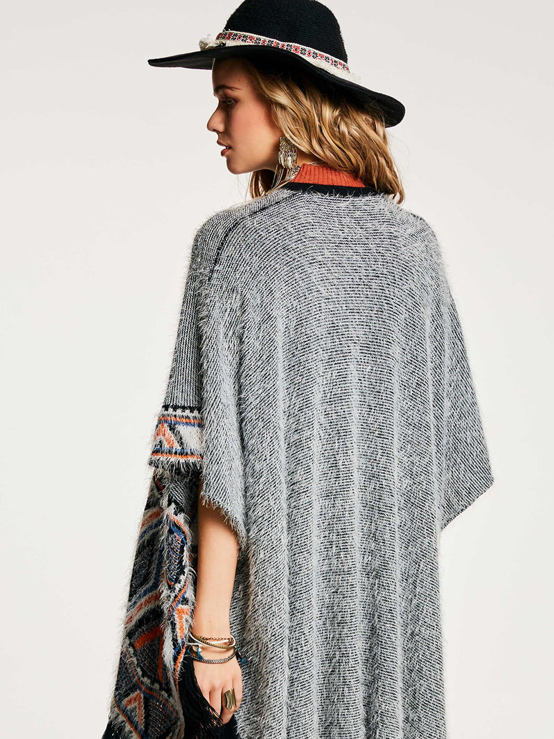 Color Block Tassel Patchwork Women's Cape - Comfyfree