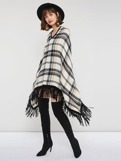 Plaid Color Block Pullover Cape