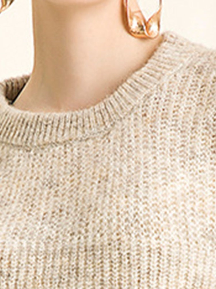 Pure Color Loose Lantern Sleeve Knitwear