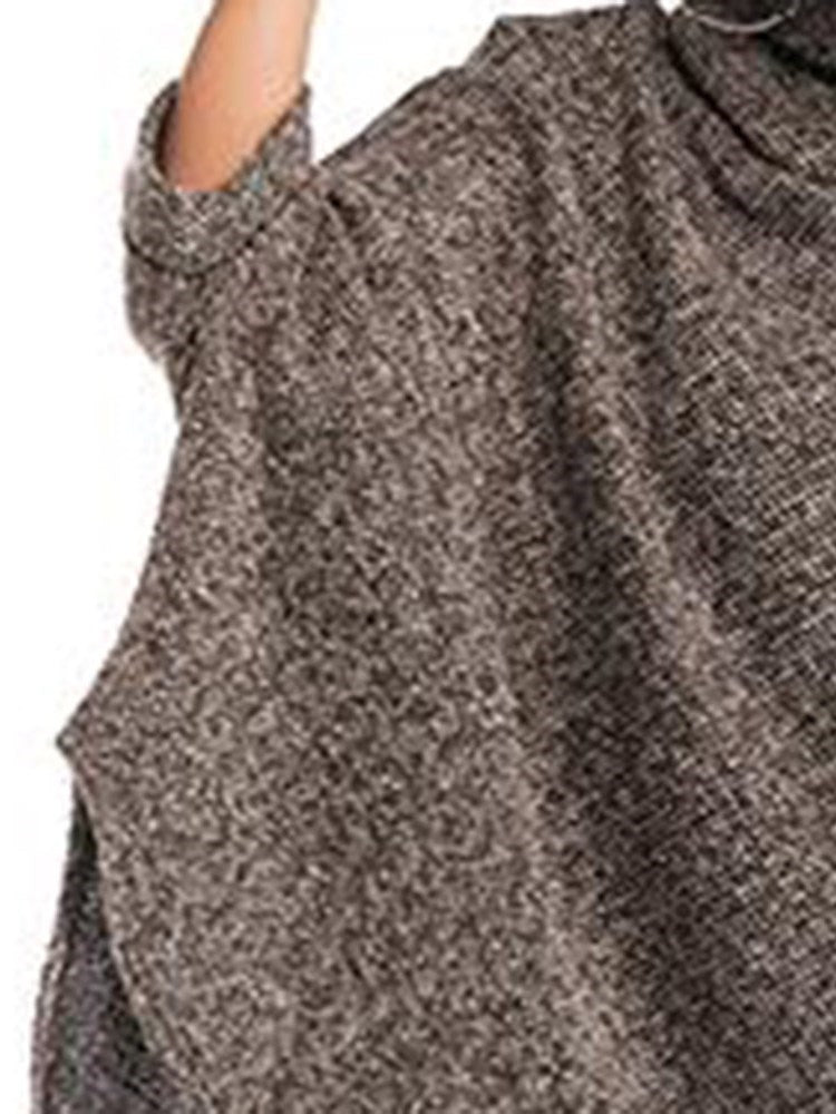 Pullover Turtleneck Cotton Cape