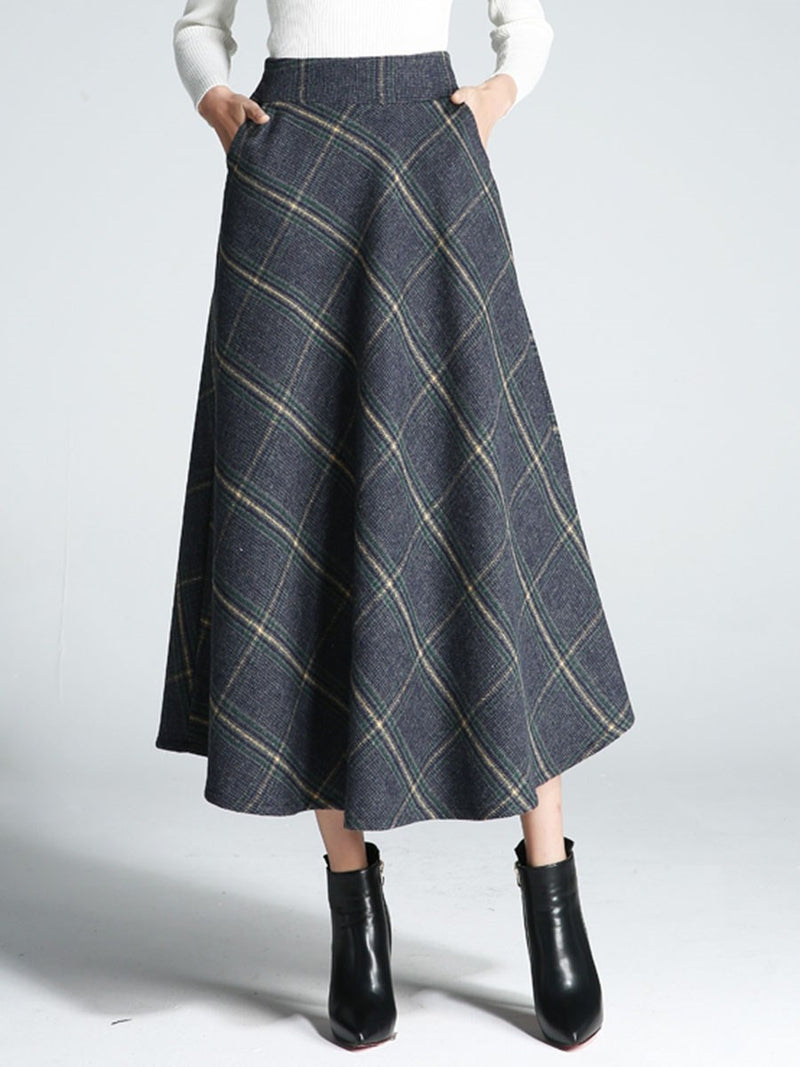 Wool Blends Plaid High-Waist Ankle-Length Skirt