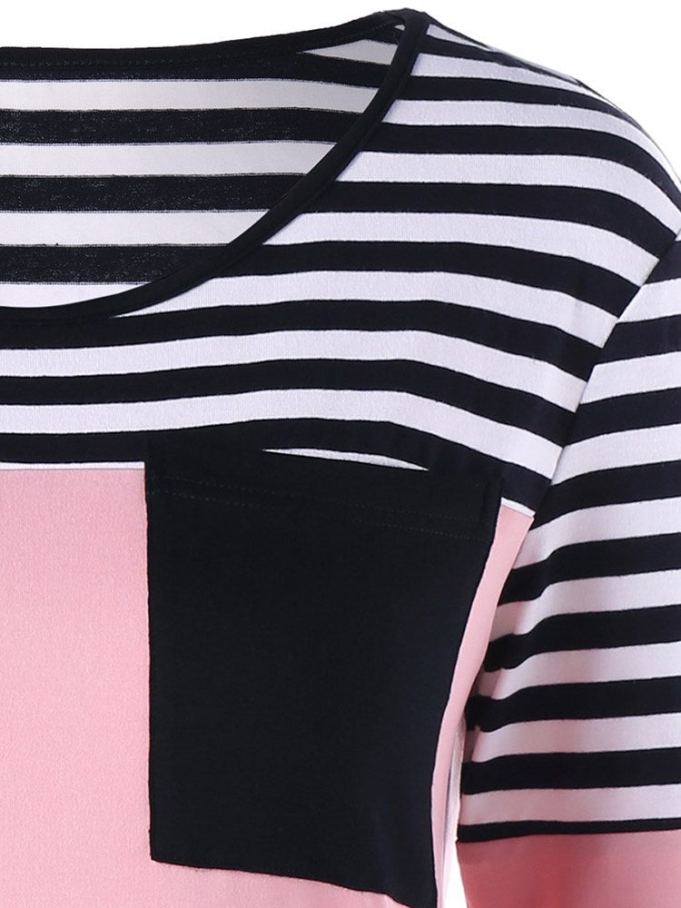 Round Neck Contrast Striped T-shirt