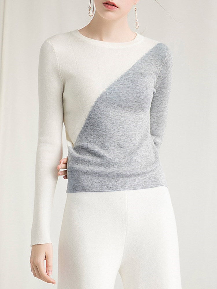 Color Block Pullover Slim Knitwear - Comfyfree