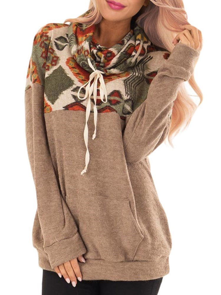 Geometric Patchwork Turtleneck Hoodie with Pocket - Comfyfree