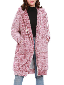 Long Sleeve Hooded Padded Plush Teddy Bear Trench Coat - Comfyfree