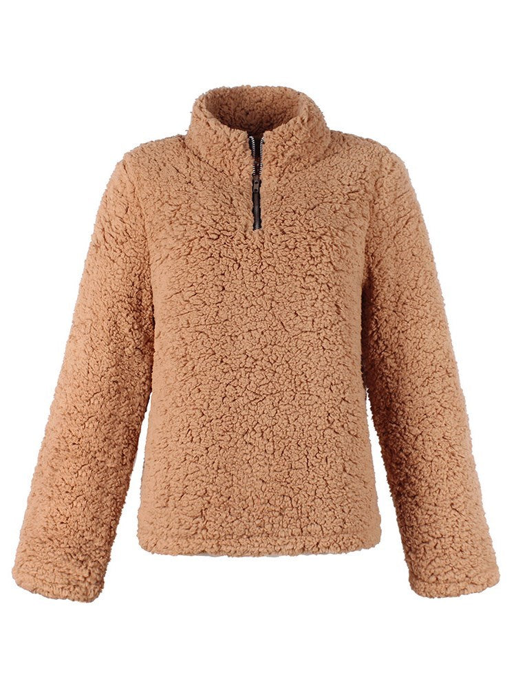 Zipper Stand Collar Casual Fashion Teddy Bear Hoodie