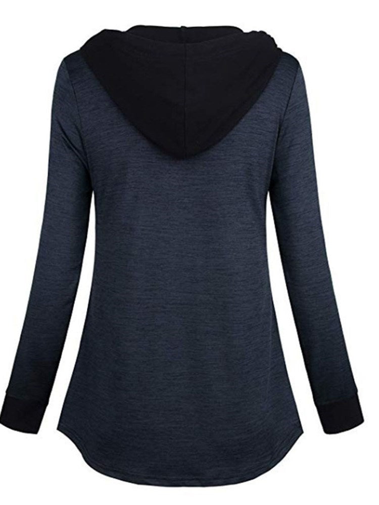 Color Block Hooded Mid-Length Sweatshirt - Comfyfree