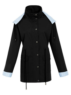 Zipper Hooded Mid-Length Trench Coat