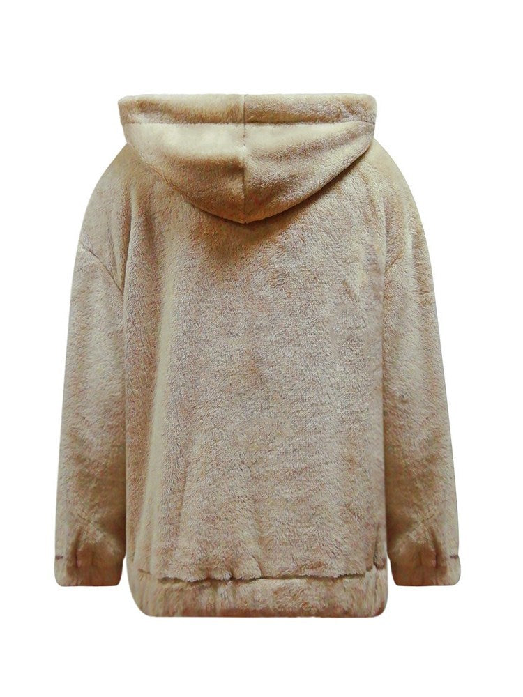 Lace-Up Pocket Long Sleeve Hooded Teddy Bear Sweatshirt - Comfyfree