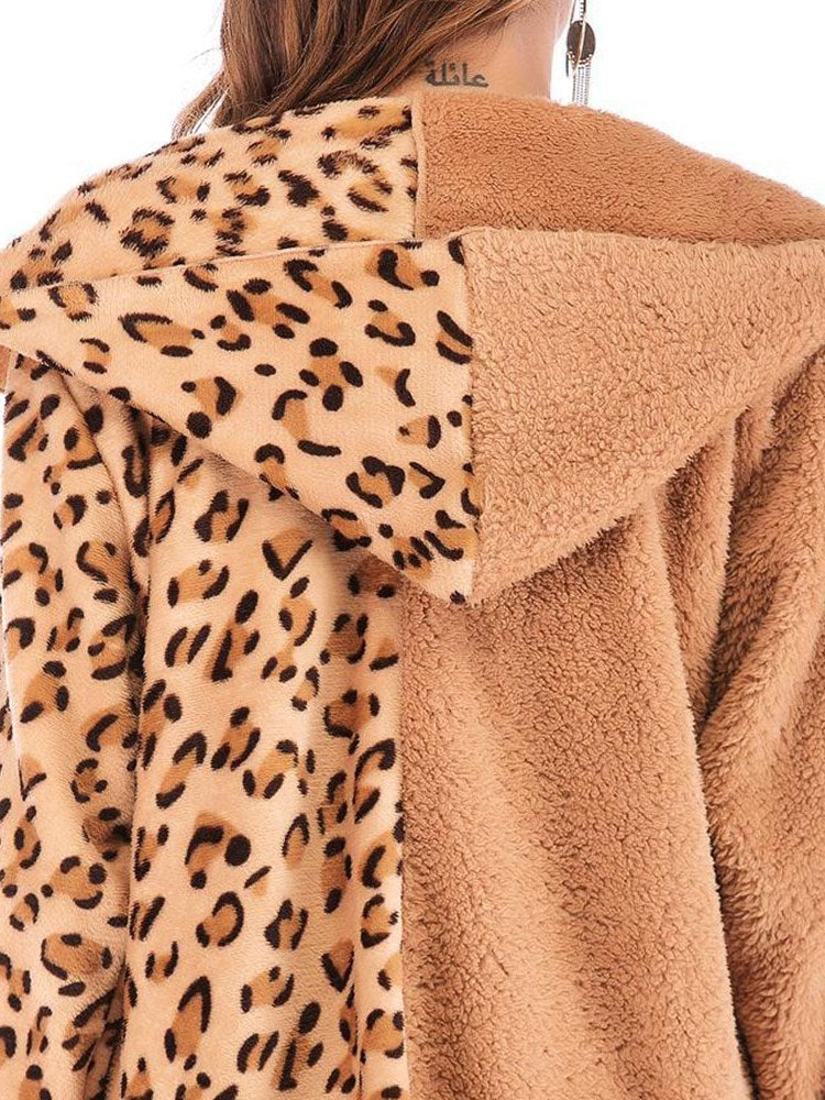 Leopard Patchwork Hooded Overcoat Teddy Bear Coat - Comfyfree